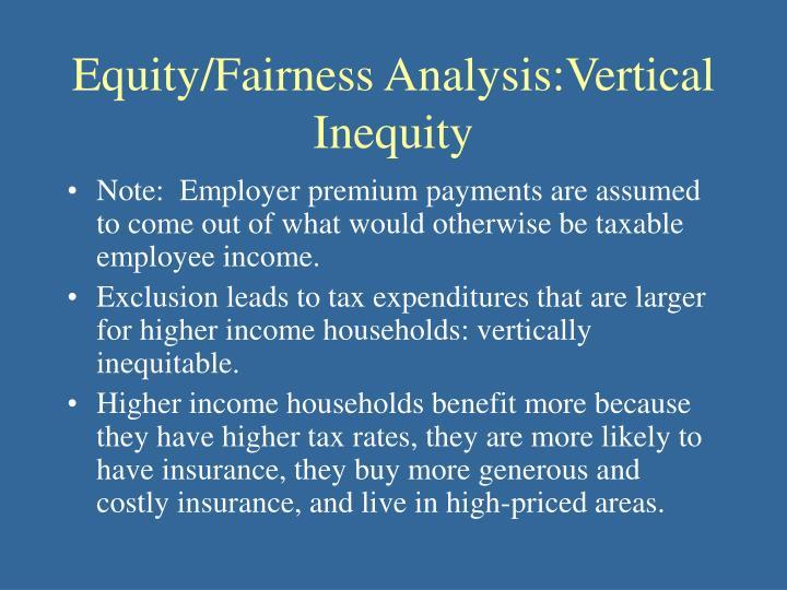 Equity/Fairness Analysis:Vertical Inequity