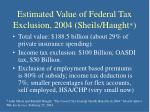 estimated value of federal tax exclusion 2004 sheils haught