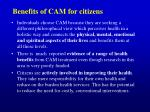 benefits of cam for citizens