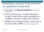 embedding constraint based grammars in a quantitative framework