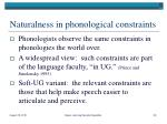 naturalness in phonological constraints