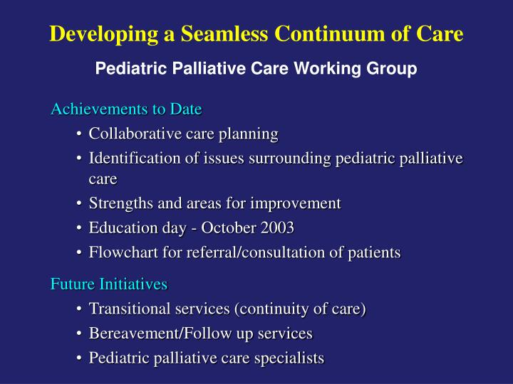 Developing a Seamless Continuum of Care