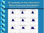 bi modality of yarn hairiness mixed gaussian distribution