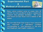 experimental part method of evaluation