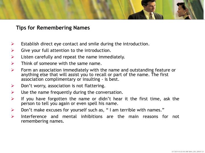 Tips for Remembering Names