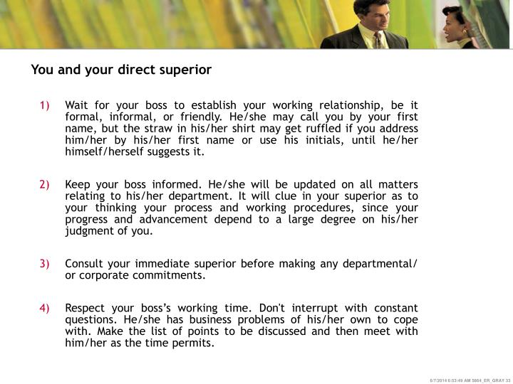 You and your direct superior