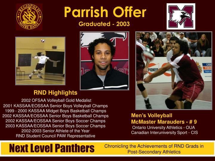Parrish Offer