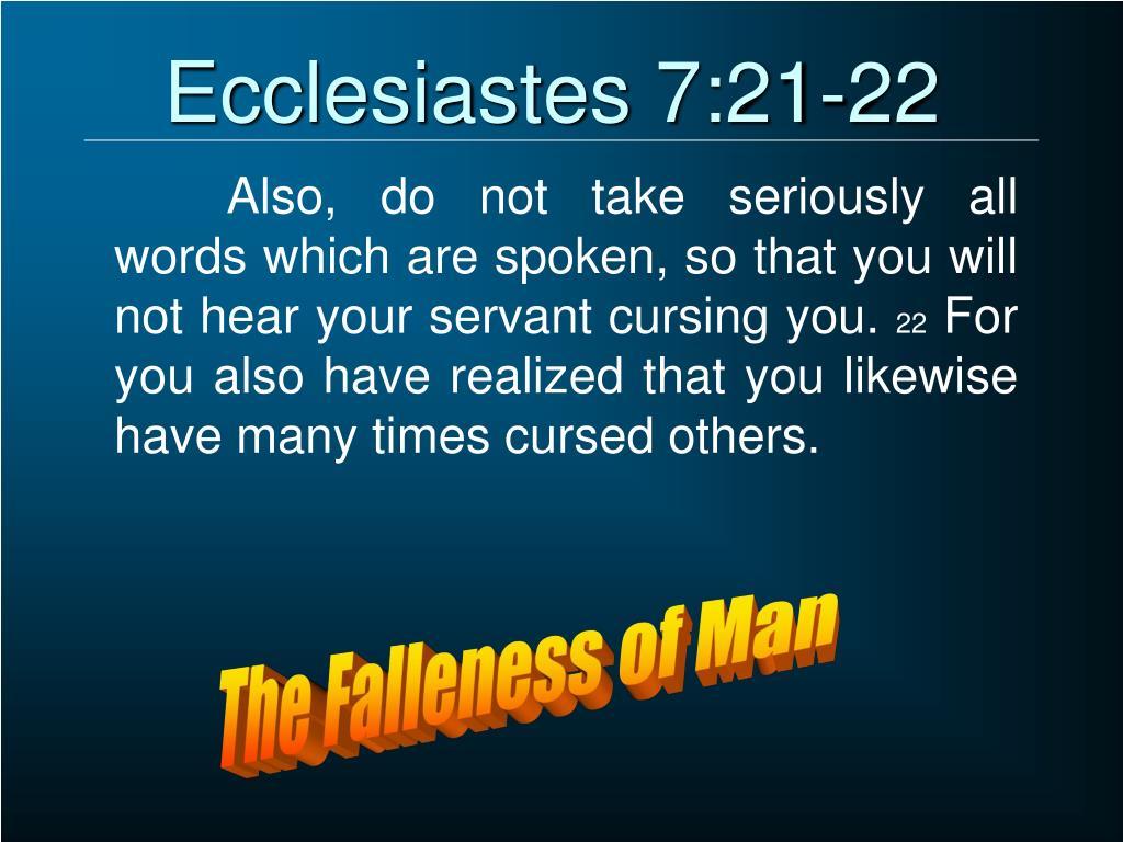 Image result for Eccl. 7:21-22