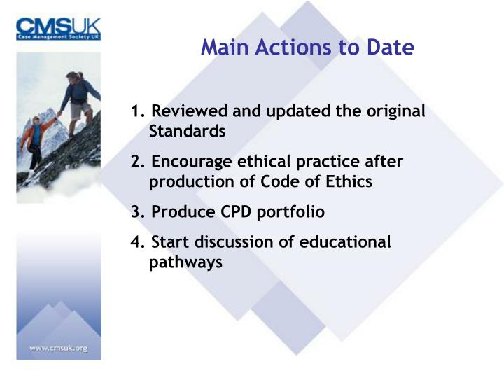 Main Actions to Date