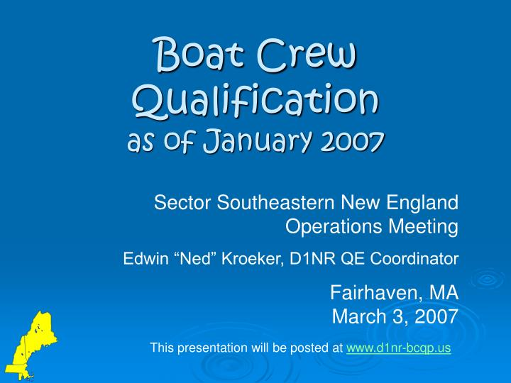 Boat crew qualification as of january 2007