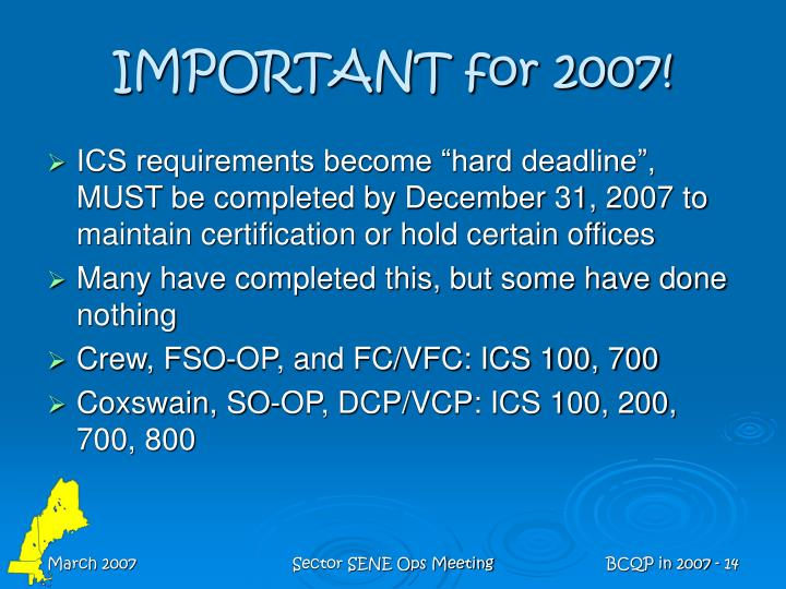 IMPORTANT for 2007!