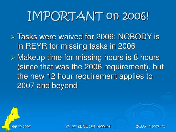 IMPORTANT on 2006!