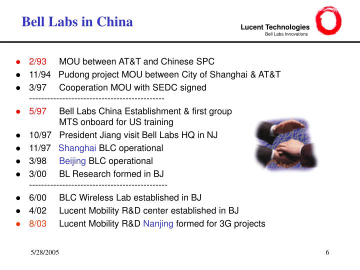 Bell Labs in China