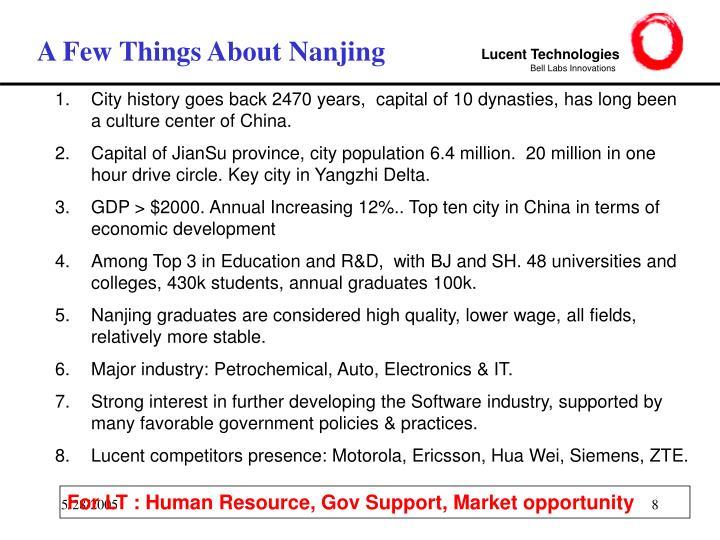 A Few Things About Nanjing