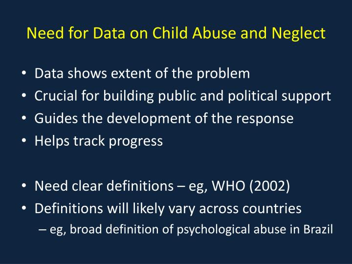 Need for Data on Child Abuse and Neglect