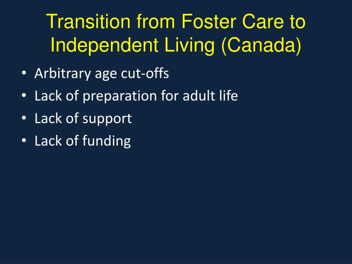 Transition from Foster Care to Independent Living (Canada)