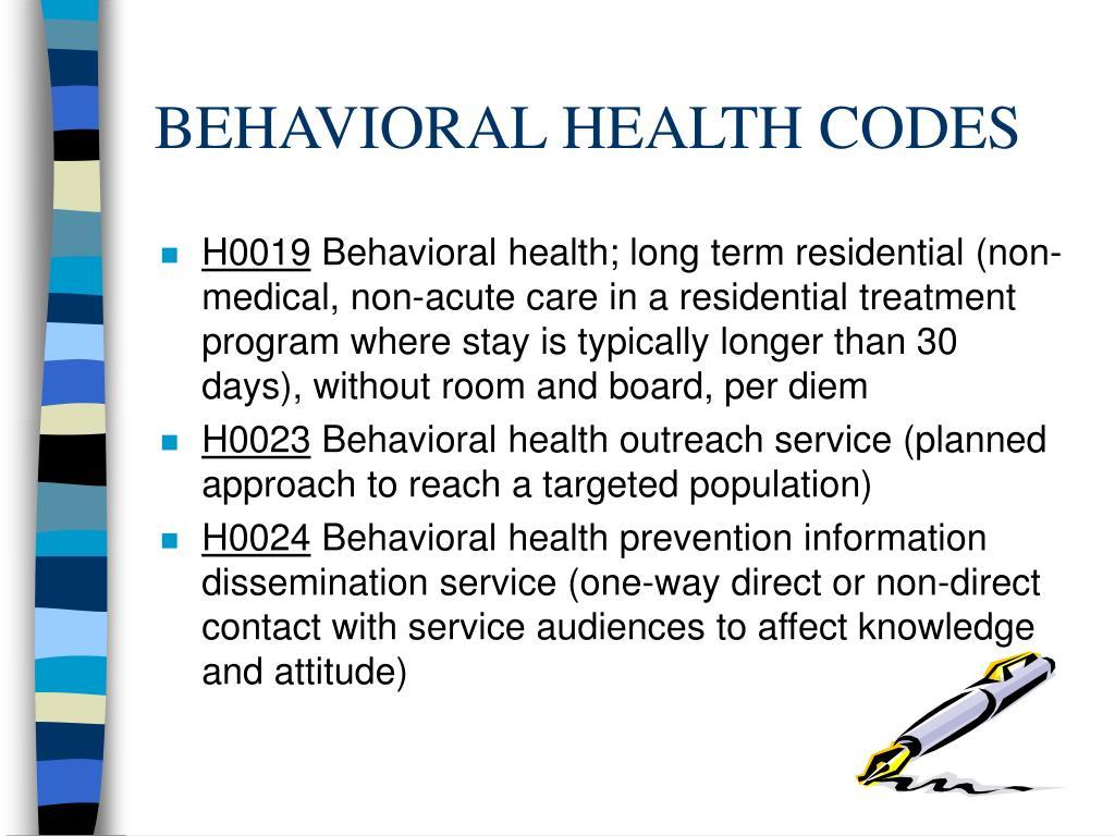 BEHAVIORAL HEALTH CODES