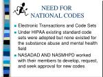 need for national codes