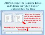 after selecting the requisite tables and closing the show tables dialogue box we have