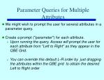 parameter queries for multiple attributes