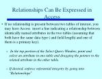 relationships can be expressed in access