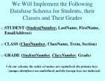 we will implement the following database schema for students their classes and their grades