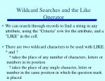 wildcard searches and the like operator