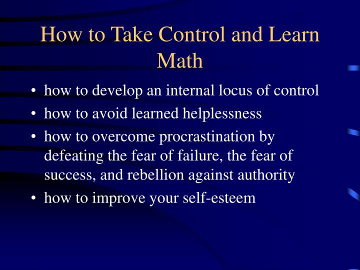 how to take control and learn math n.
