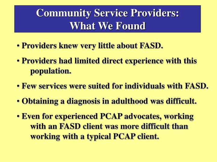 Community Service Providers: