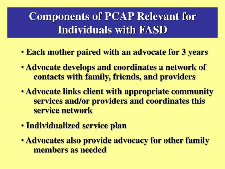 Components of PCAP Relevant for Individuals with FASD