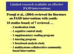 limited research available on effective fasd interventions
