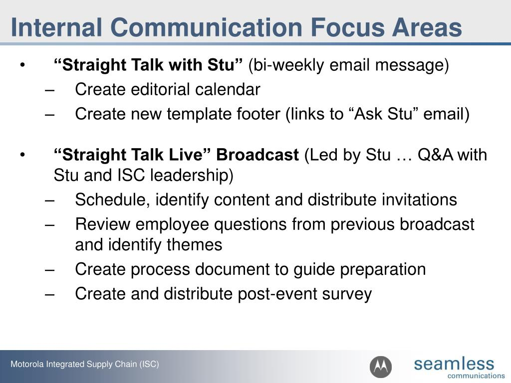 Internal Communication Focus Areas