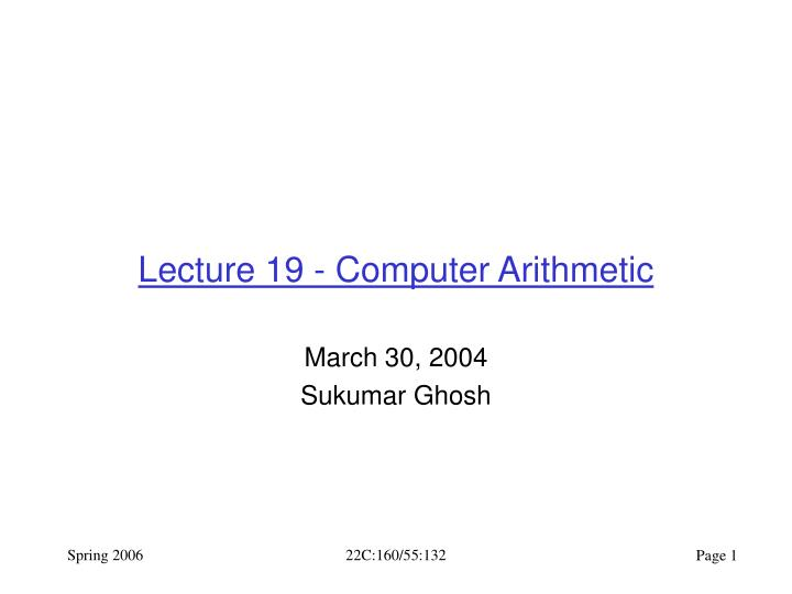 lecture 19 computer arithmetic n.