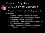 causes cognitive vulnerability for depression