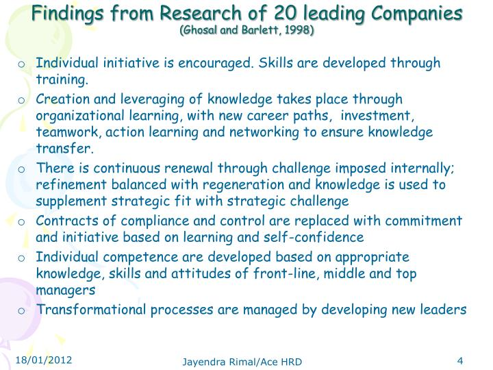 Findings from Research of 20 leading Companies