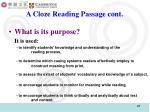 a cloze reading passage cont