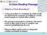 a cloze reading passage
