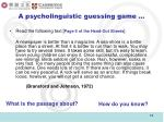 a psycholinguistic guessing game