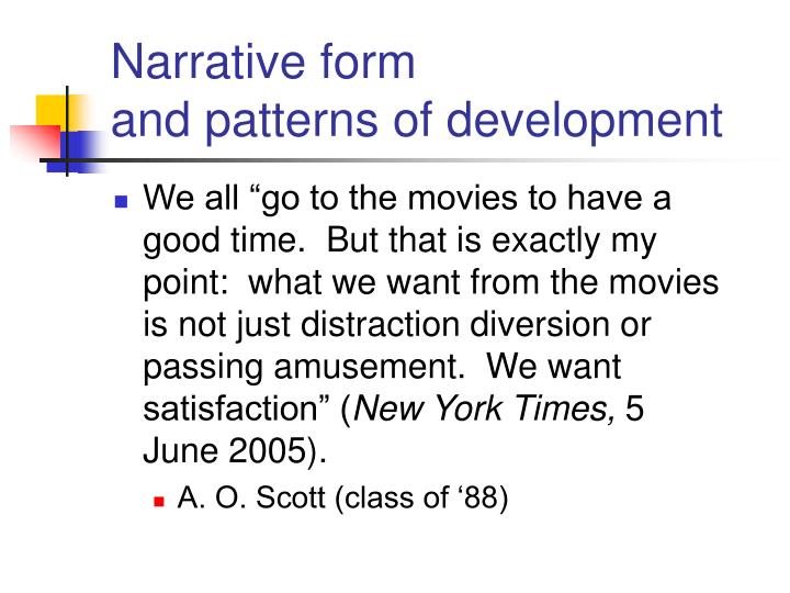 narrative form and patterns of development n.
