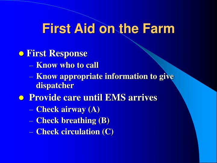 First aid on the farm