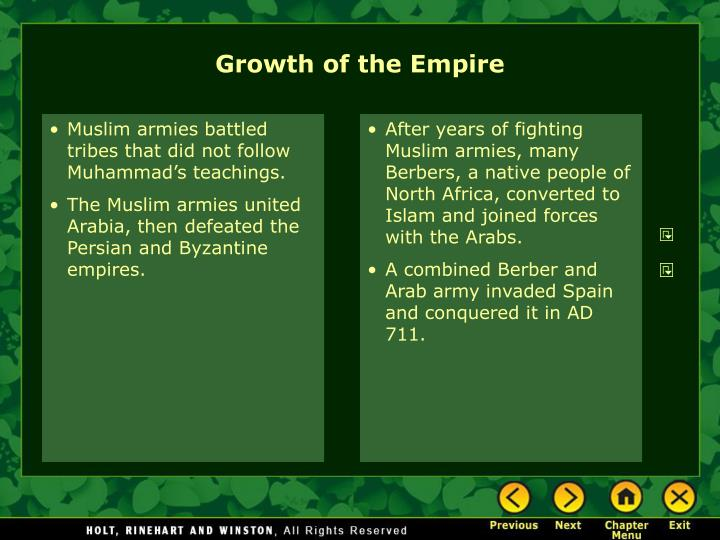 Muslim armies battled tribes that did not follow Muhammad's teachings.