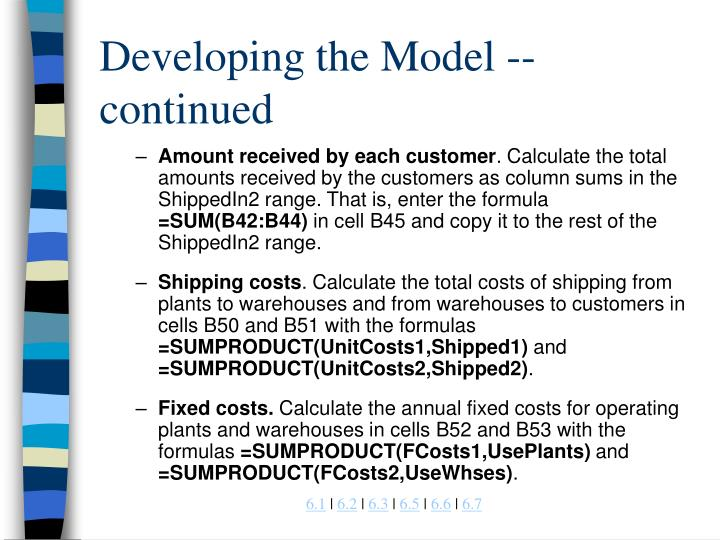 Developing the Model -- continued