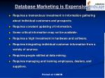 database marketing is expensive