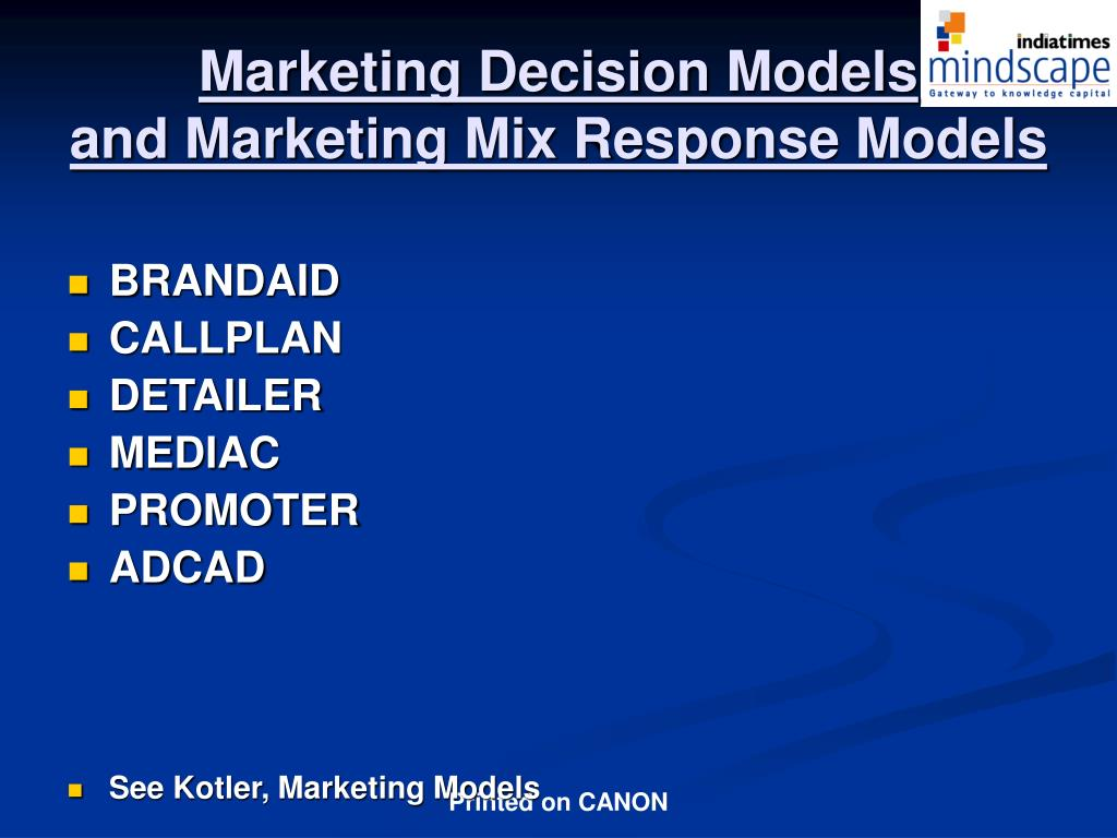 Marketing Decision Models