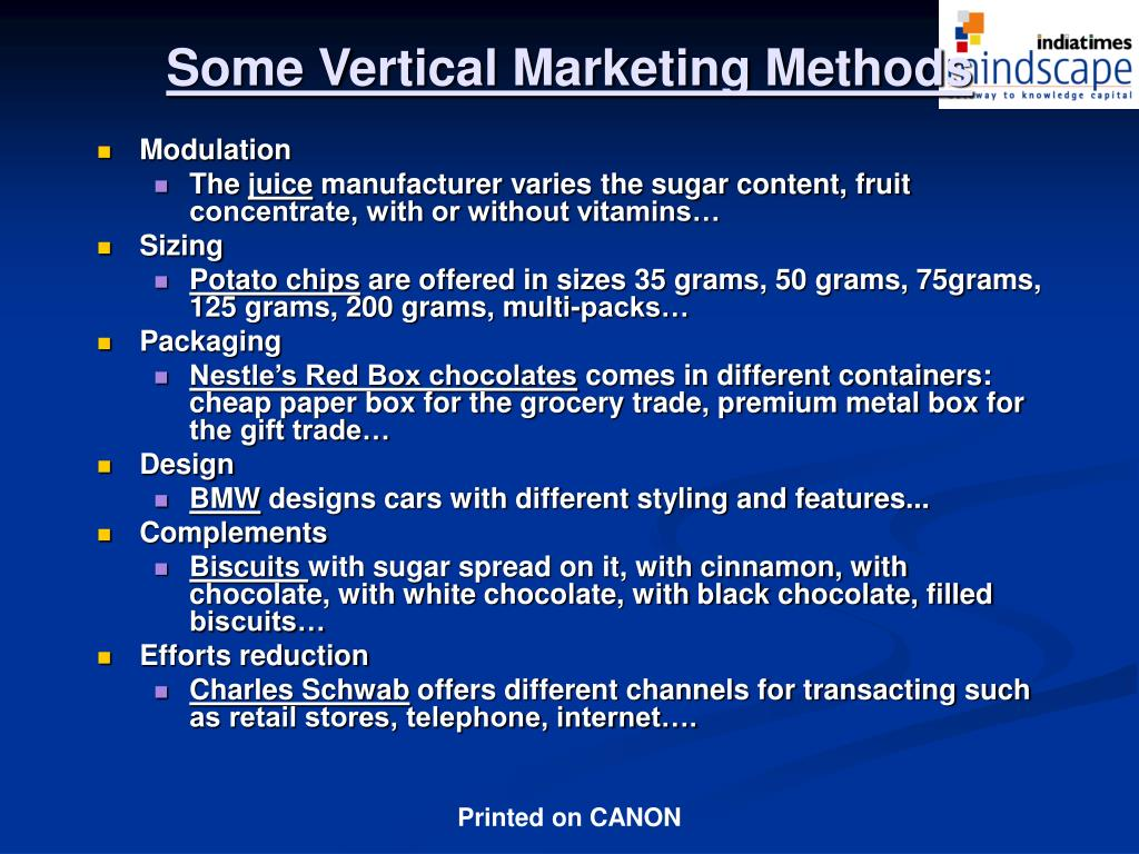 Some Vertical Marketing Methods