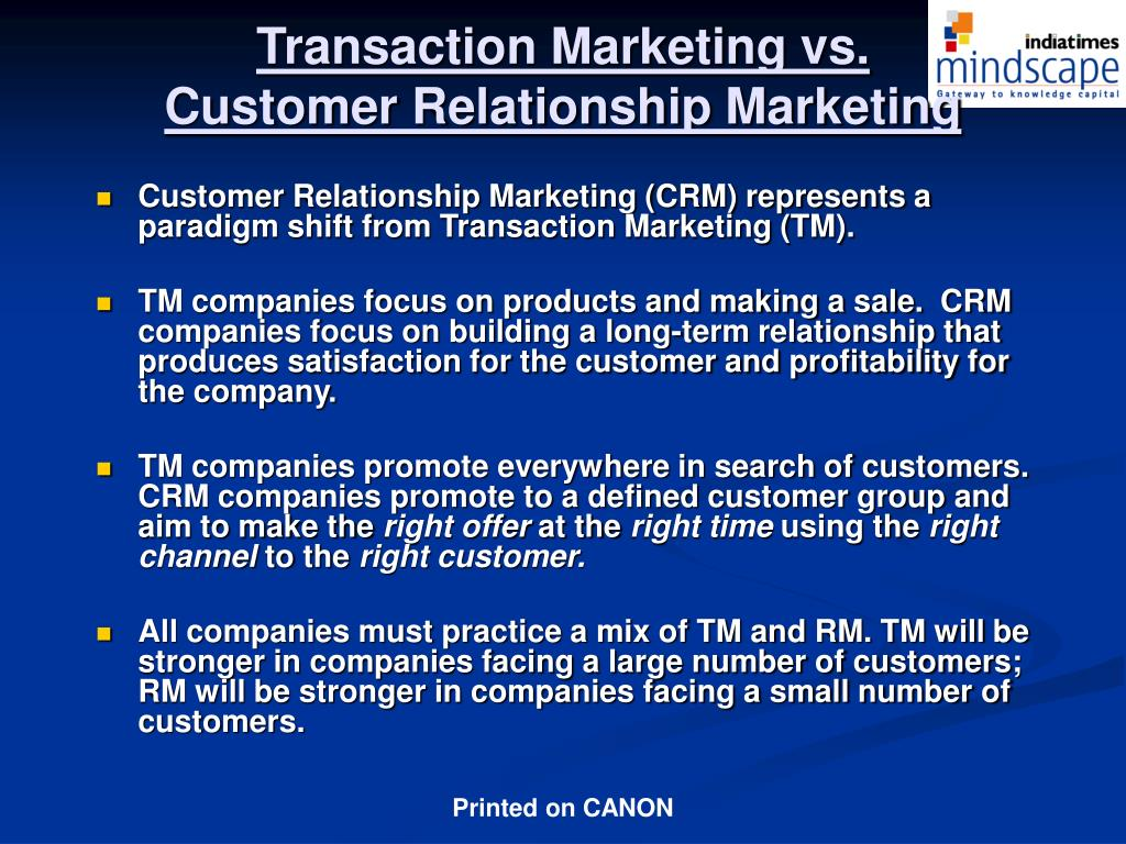 Transaction Marketing vs.