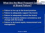 what are the most frequent causes of brand failure