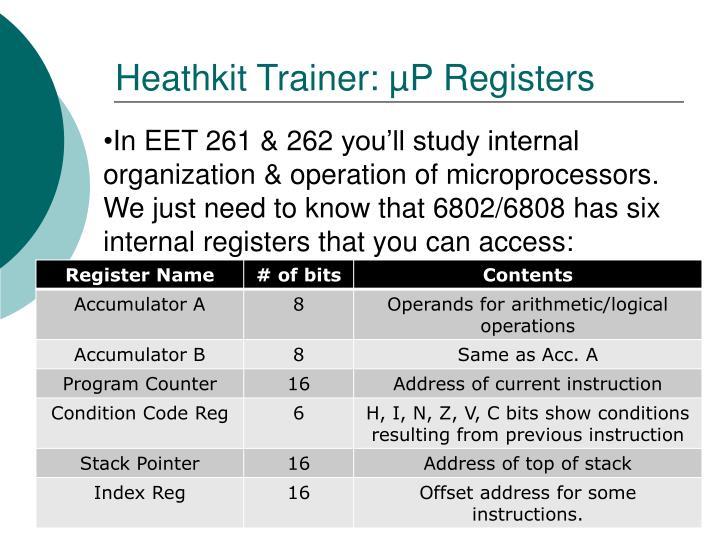 Heathkit Trainer: µP Registers