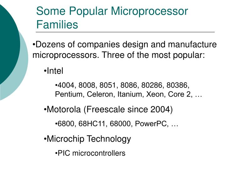 Some Popular Microprocessor Families
