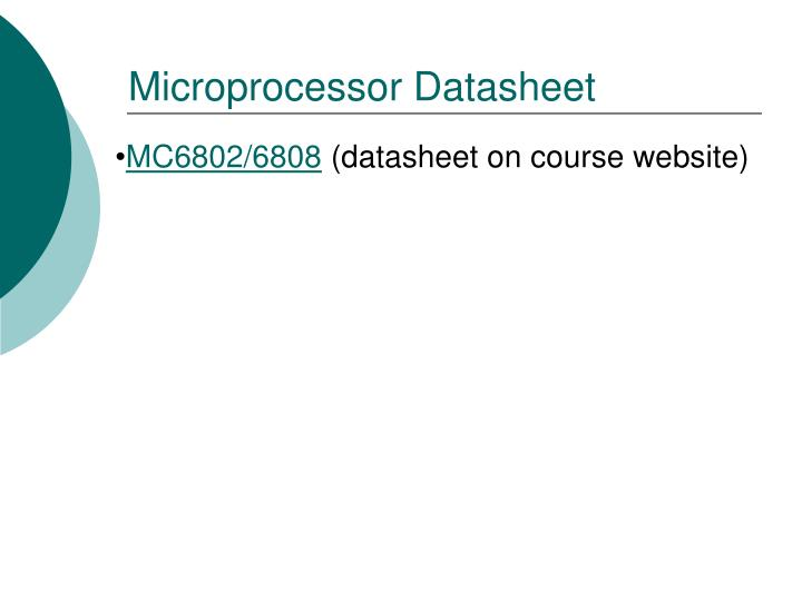 Microprocessor Datasheet